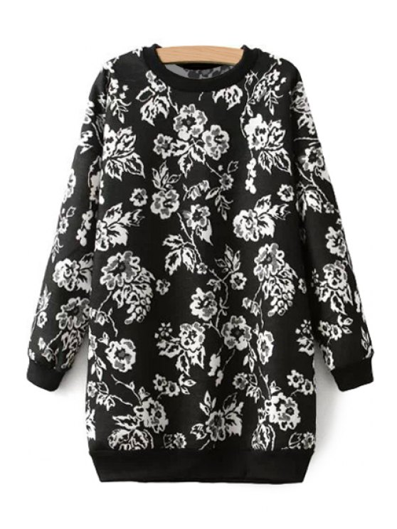 women Long Sleeves Floral Pattern Sweatshirt - WHITE AND BLACK ONE SIZE(FIT SIZE XS TO M)
