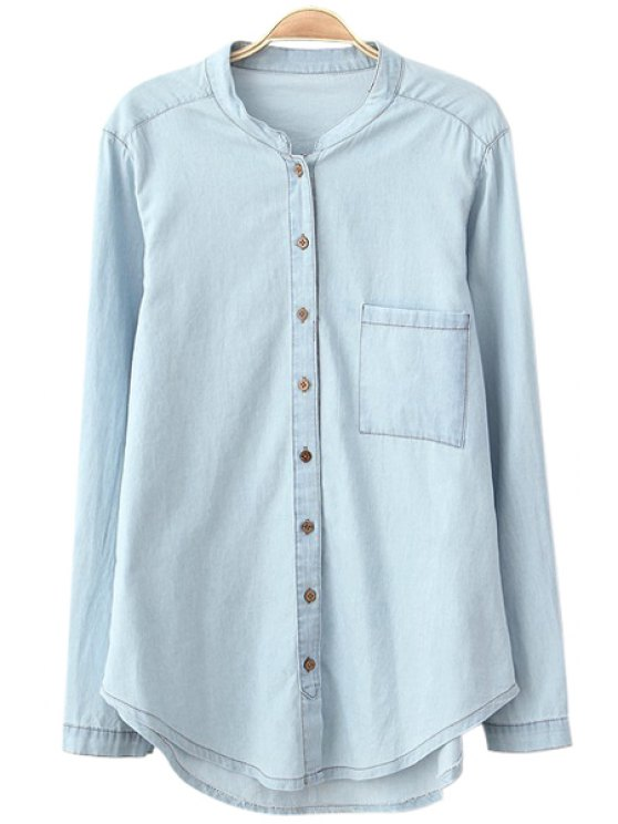 unique Stand Collar Solid Color Denim Shirt - LIGHT BLUE S