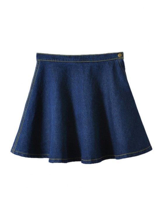 latest Solid Color Flouncing Denim Skirt - DEEP BLUE XS