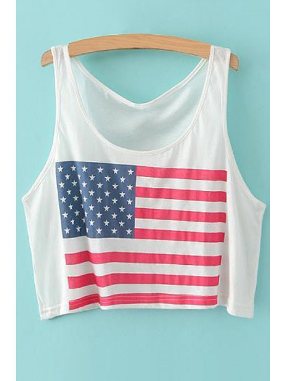 shops National Flag Print Tank Top - WHITE ONE SIZE(FIT SIZE XS TO M)