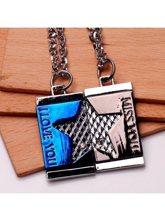 sale Pair of Chic Letter Decorated Square Necklaces For Loves - COLORMIX