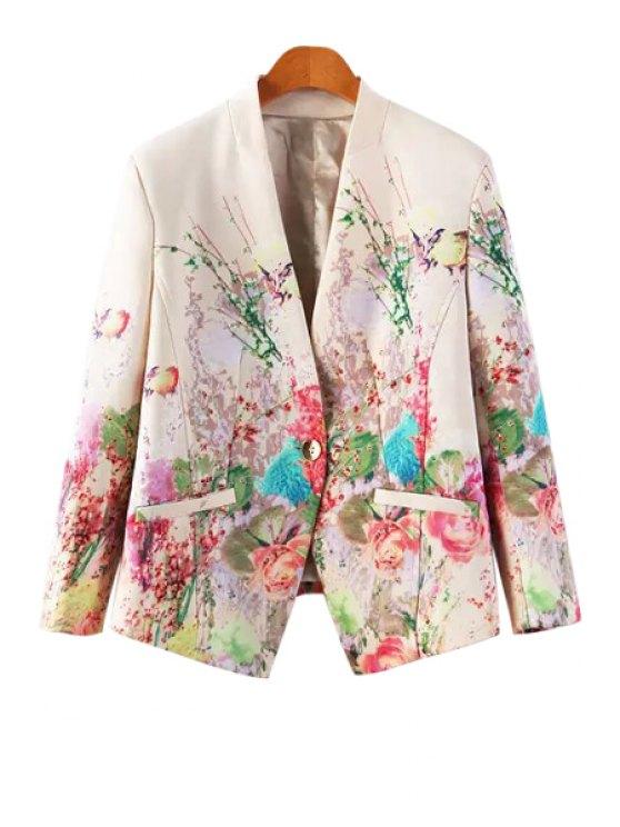 ladies V-Neck Floral Print Blazer - OFF-WHITE S