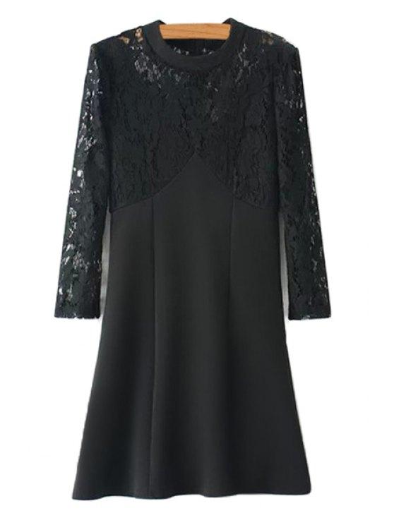 ladies Lace Splicing Long Sleeves Dress - BLACK L