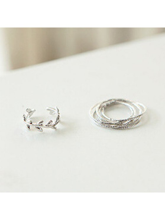 best 2PCS Fashionable Leaf Shaped and Multi-Layered Rings For Women - SILVER