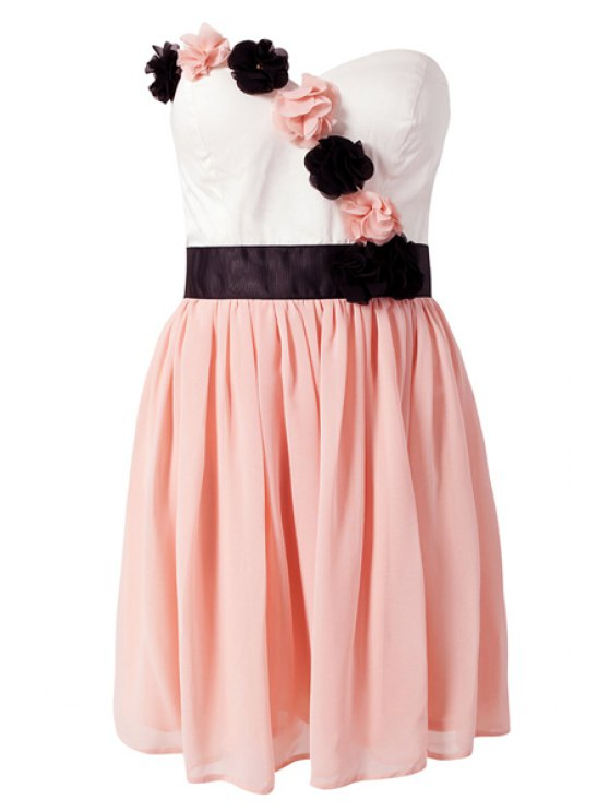 trendy Strapless Color Block Dress - PINK S