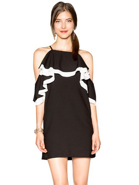 fashion Off-The-Shoulder Ruffles Dress - BLACK S