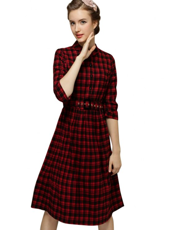 shops Checked Pattern 3/4 Sleeve Dress - CHECKED S