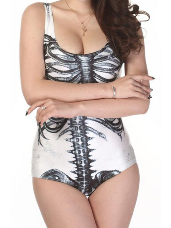 women Skeleton Print One-Piece Swimwear - WHITE AND BLACK ONE SIZE(FIT SIZE XS TO M)