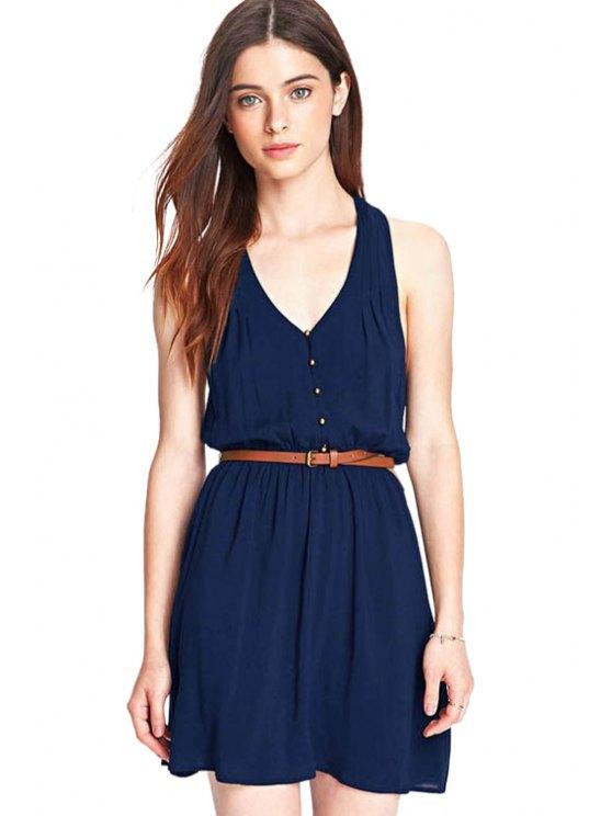 buy V-Neck Solid Color Sundress - BLUE XS