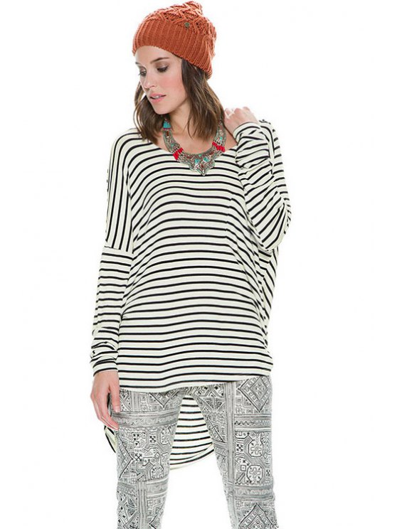 ladies Striped Long Sleeve Backless T-Shirt - STRIPE XS
