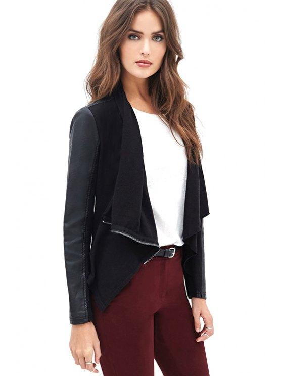 women Black Faux Leather Splicing Jacket - BLACK XS