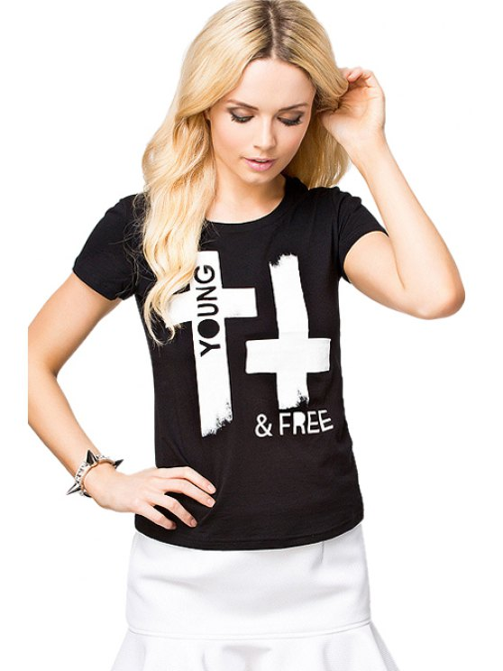 shop Cross Print Short Sleeve T-Shirt - BLACK XS
