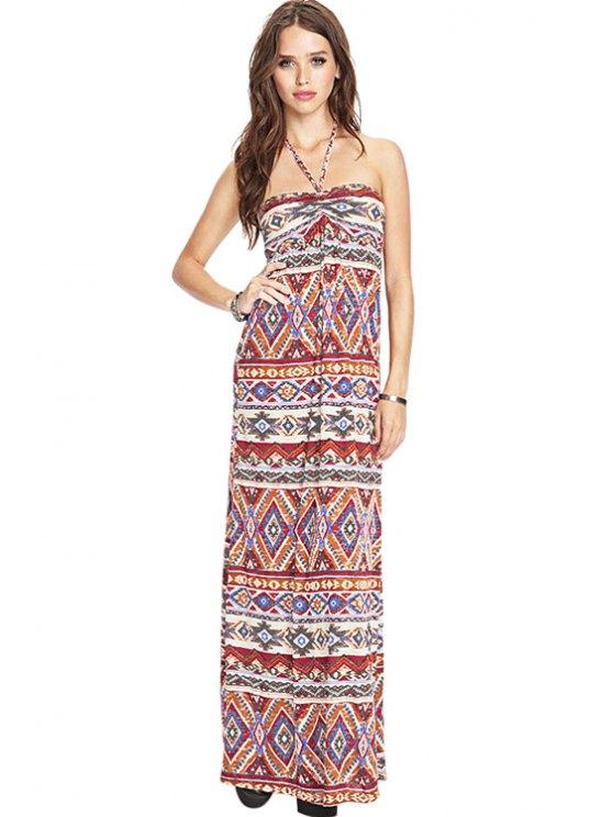 shop Halter Ethnic Print Maxi Dress - RED XS