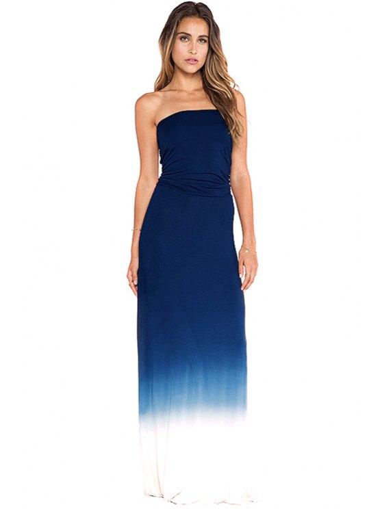 unique Color Block Strapless Maxi Dress - PURPLISH BLUE XS