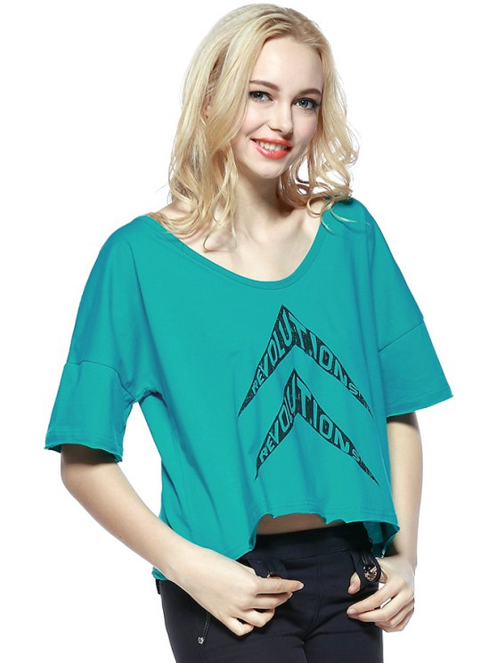 women Arrow Letter Print Short Sleeve T-Shirt - BLUE XS