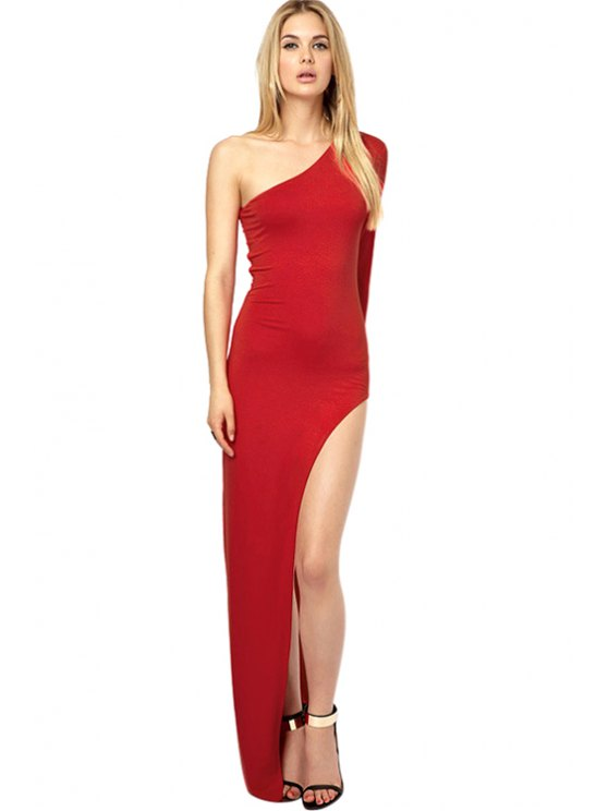 women's One-Shoulder Solid Color Maxi Dress - RED XS