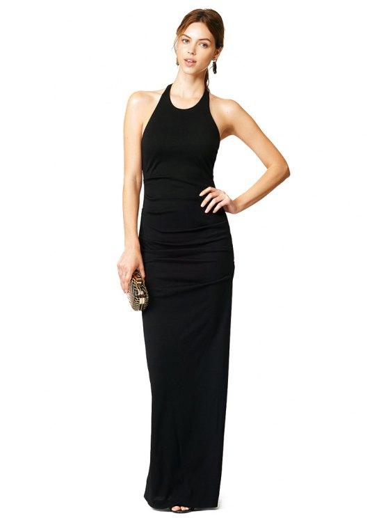 trendy Sleeveless Black Maxi Dress - BLACK XS