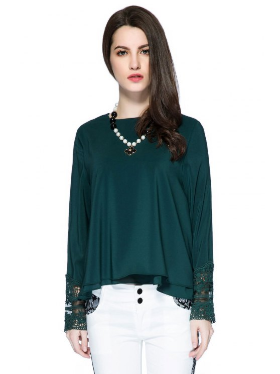 online Double Layered Lace Panel Blouse - GREEN S