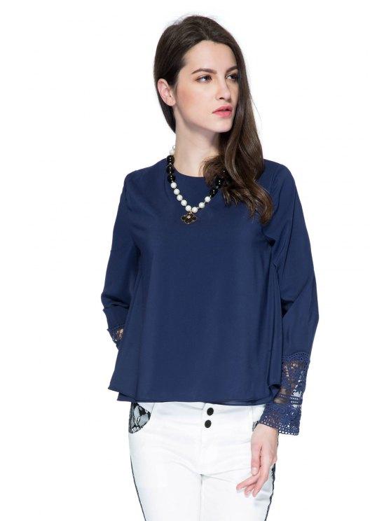 trendy Double Layered Lace Panel Blouse - PURPLISH BLUE L