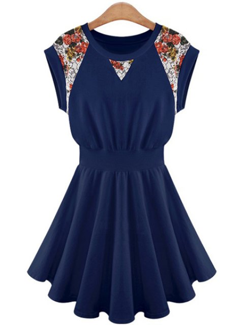 online Lace Splicing A-Line Dress - CADETBLUE L Mobile