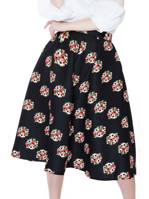 women's Flower Print A-Line Skirt - BLACK S Mobile