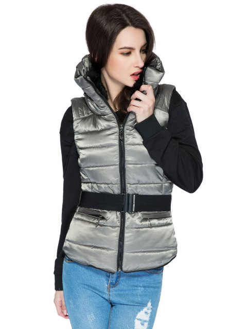 women Faux Fur Stand Collar Belt Waistcoat - GRAY S Mobile