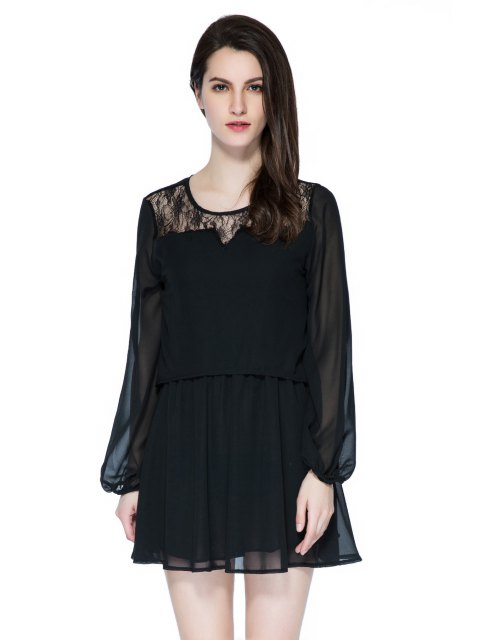 women's Lace Splicing Long Sleeve Skit Dress - BLACK M Mobile