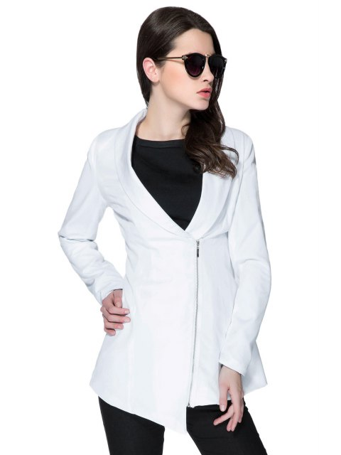 women's Solid Color Plunging Neck Zipper Coat - WHITE M Mobile