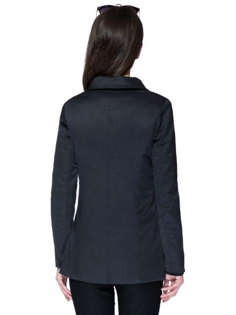 outfit Solid Color Plunging Neck Zipper Coat - BLACK M Mobile