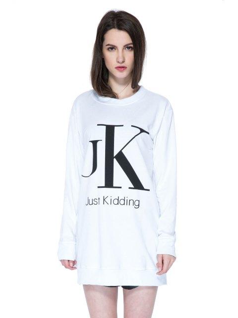 shop Long Sleeves Letter Print Sweatshirt - WHITE S Mobile