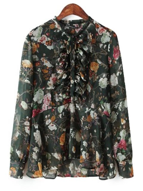 sale Floral Print Ruffles Splicing Blouse - BLACK L Mobile