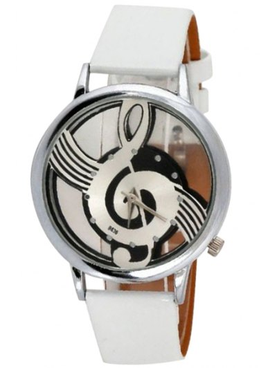 Musical Note Pattern Watch - WHITE  Mobile