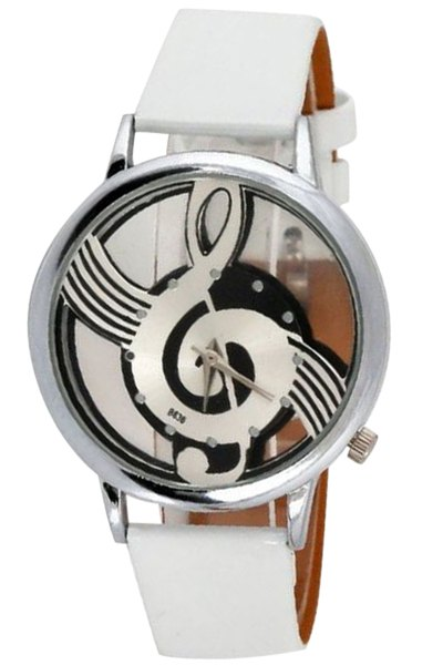 Musical Note Pattern Watch - WHITE