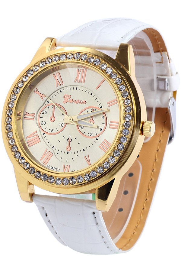 Roman Numeral Rhinestoned Watch