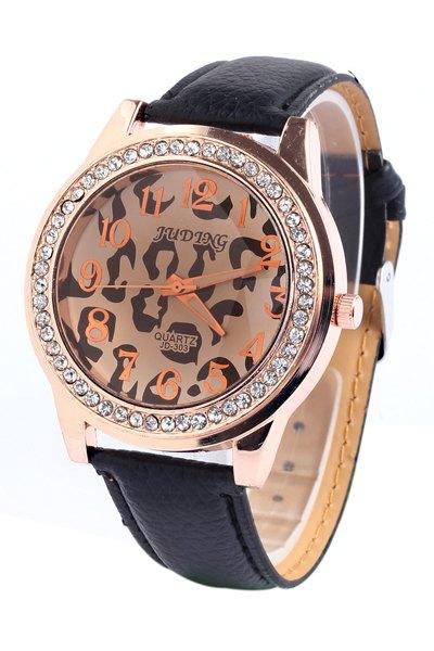 Irregular Print Rhinestoned Watch - BLACK