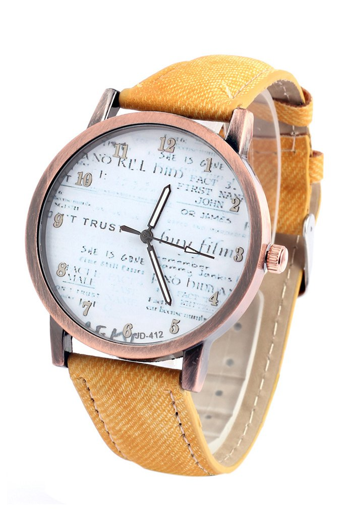 Chic Letter Print Denim Strap Watch