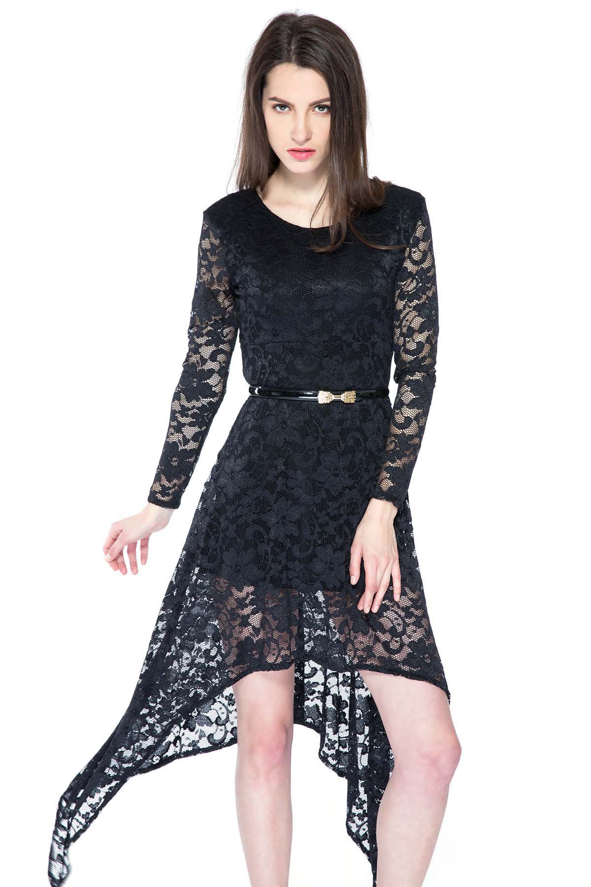 Black Irregular Hem Lace Dress - BLACK XS
