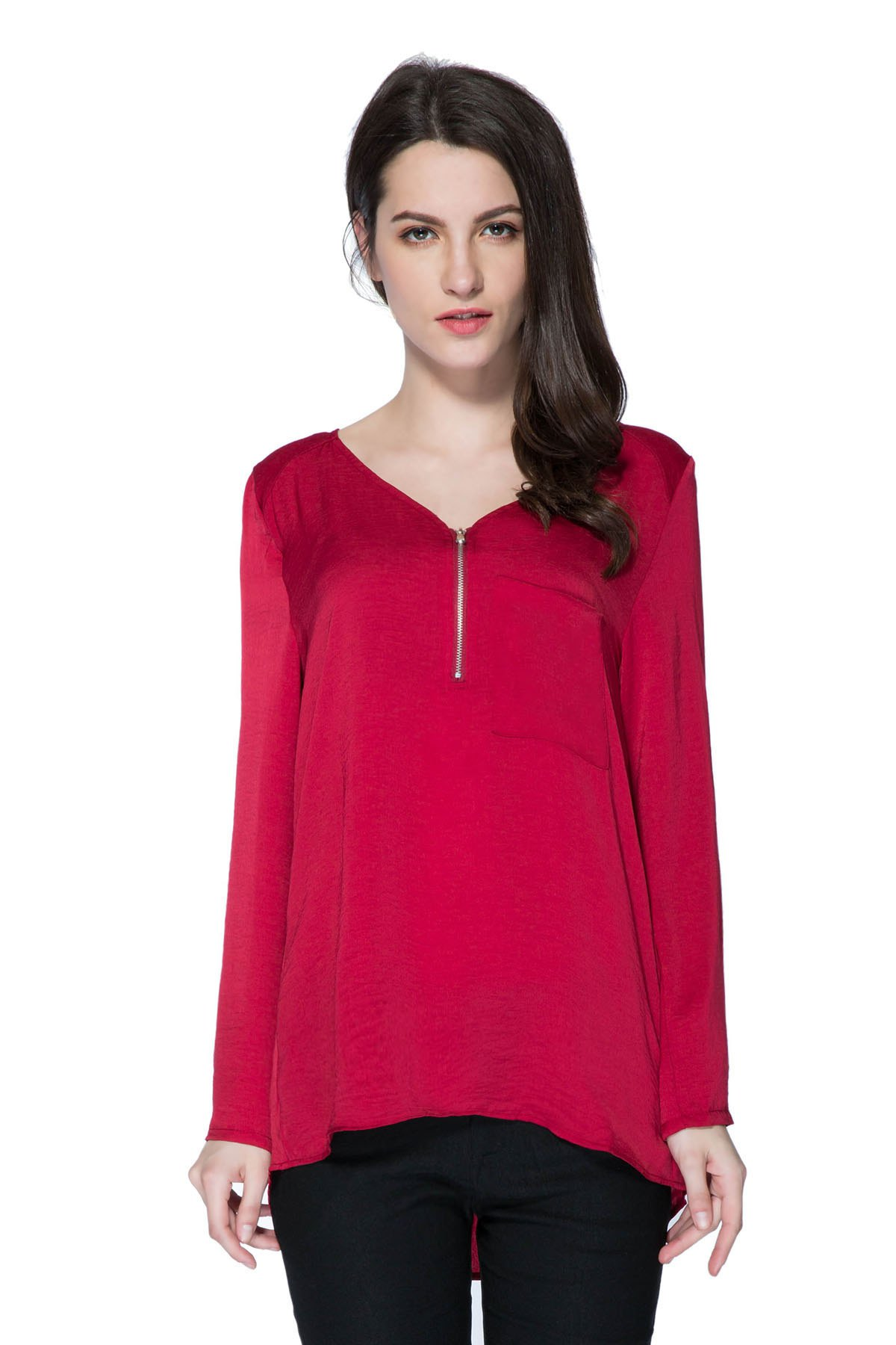 Solid Color V-Neck Zipper Blouse - WINE RED S