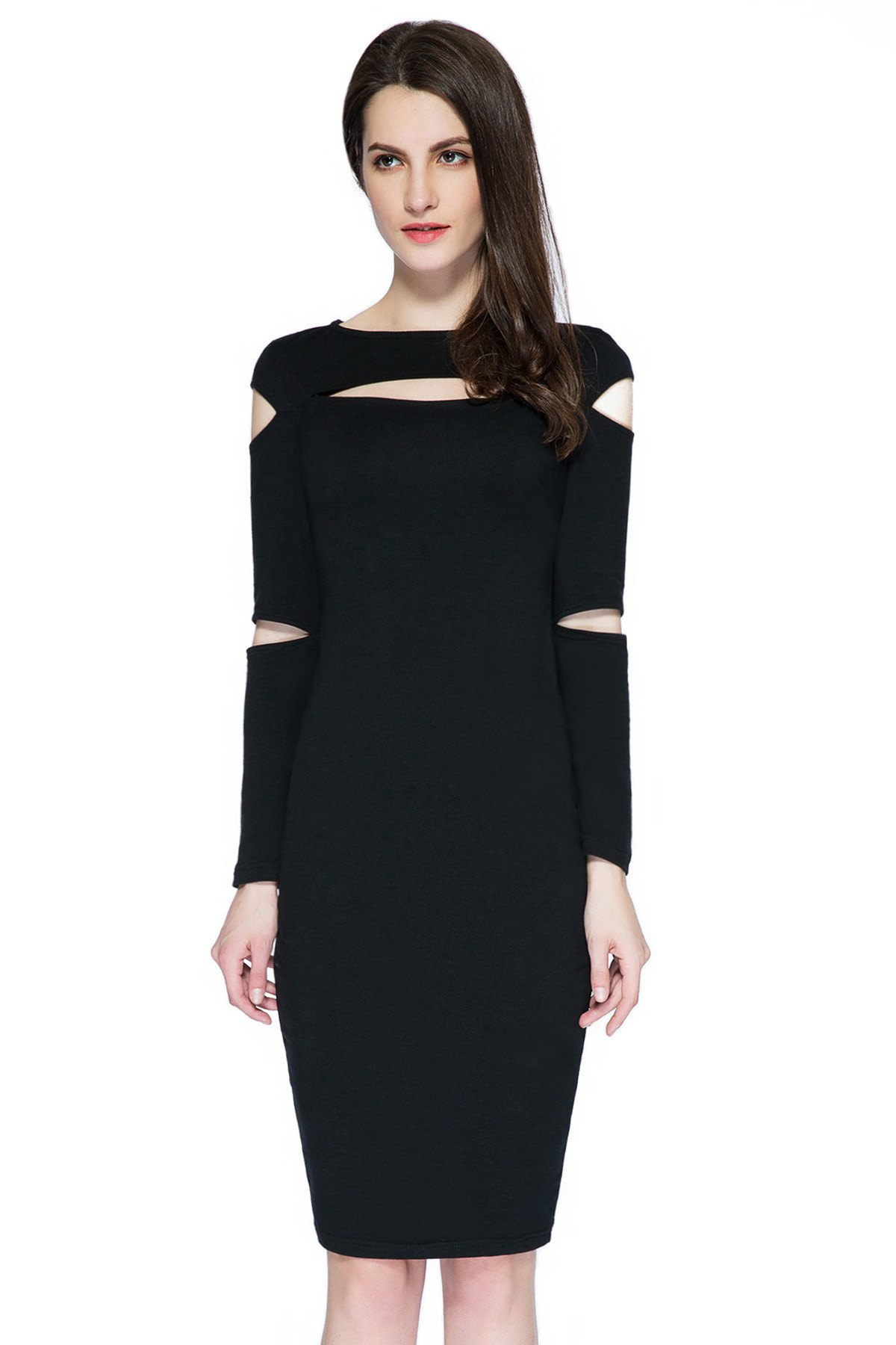 Black Cut Out Long Sleeve Dress