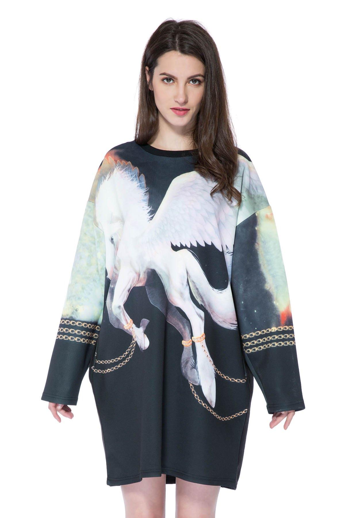Long Sleeve Horse Print Sweatshirt