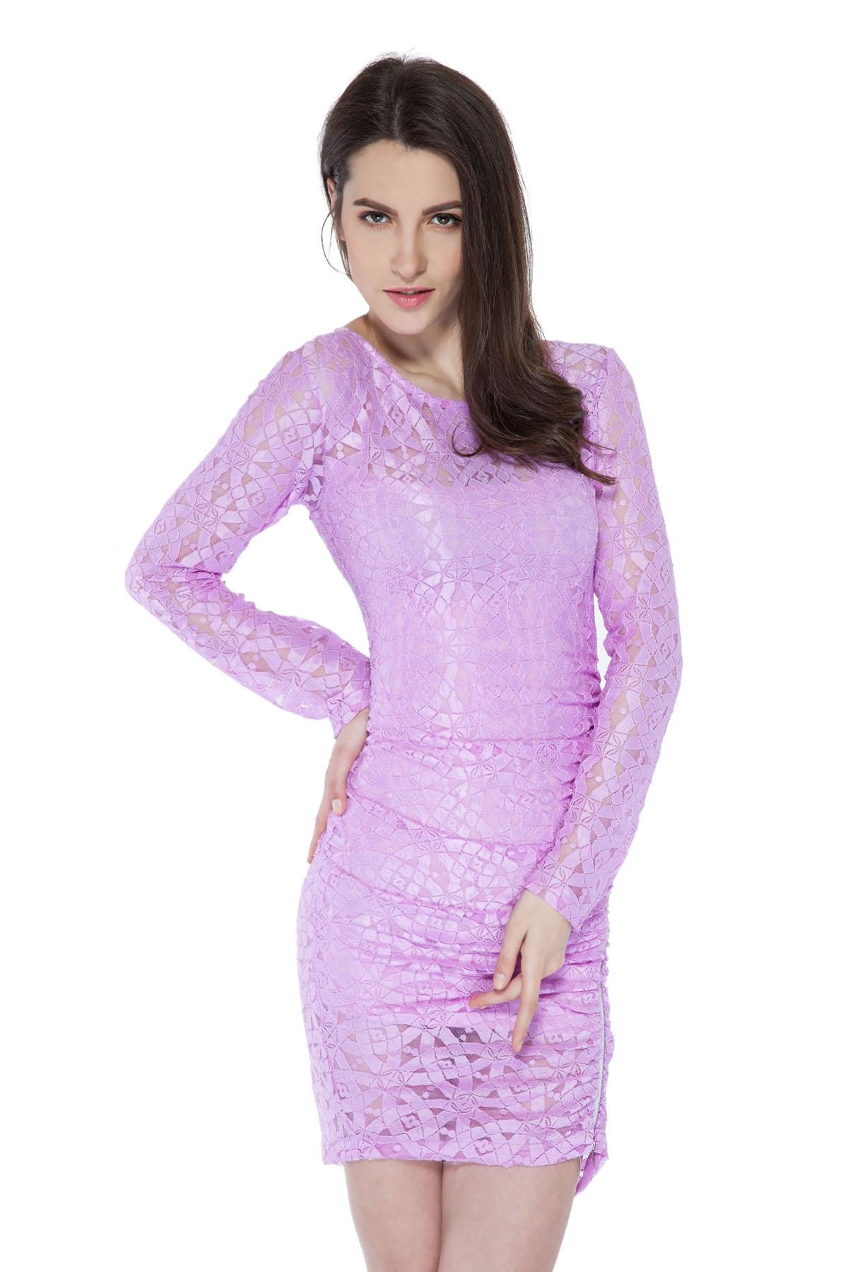 Scoop Collar Long Sleeve Solid Color Zipper Design Dress