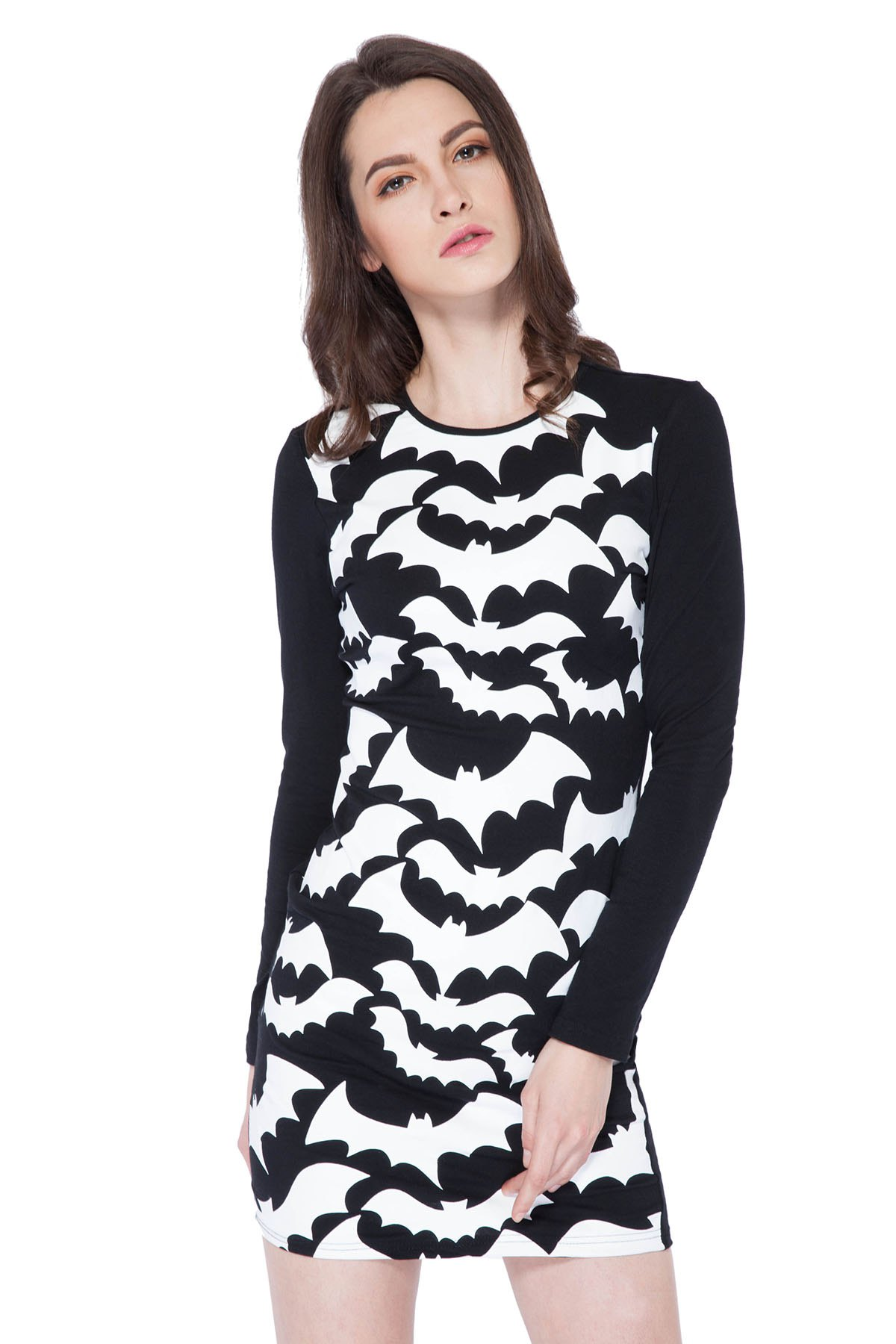 Abstract Print Long Sleeve Dress - BLACK XS