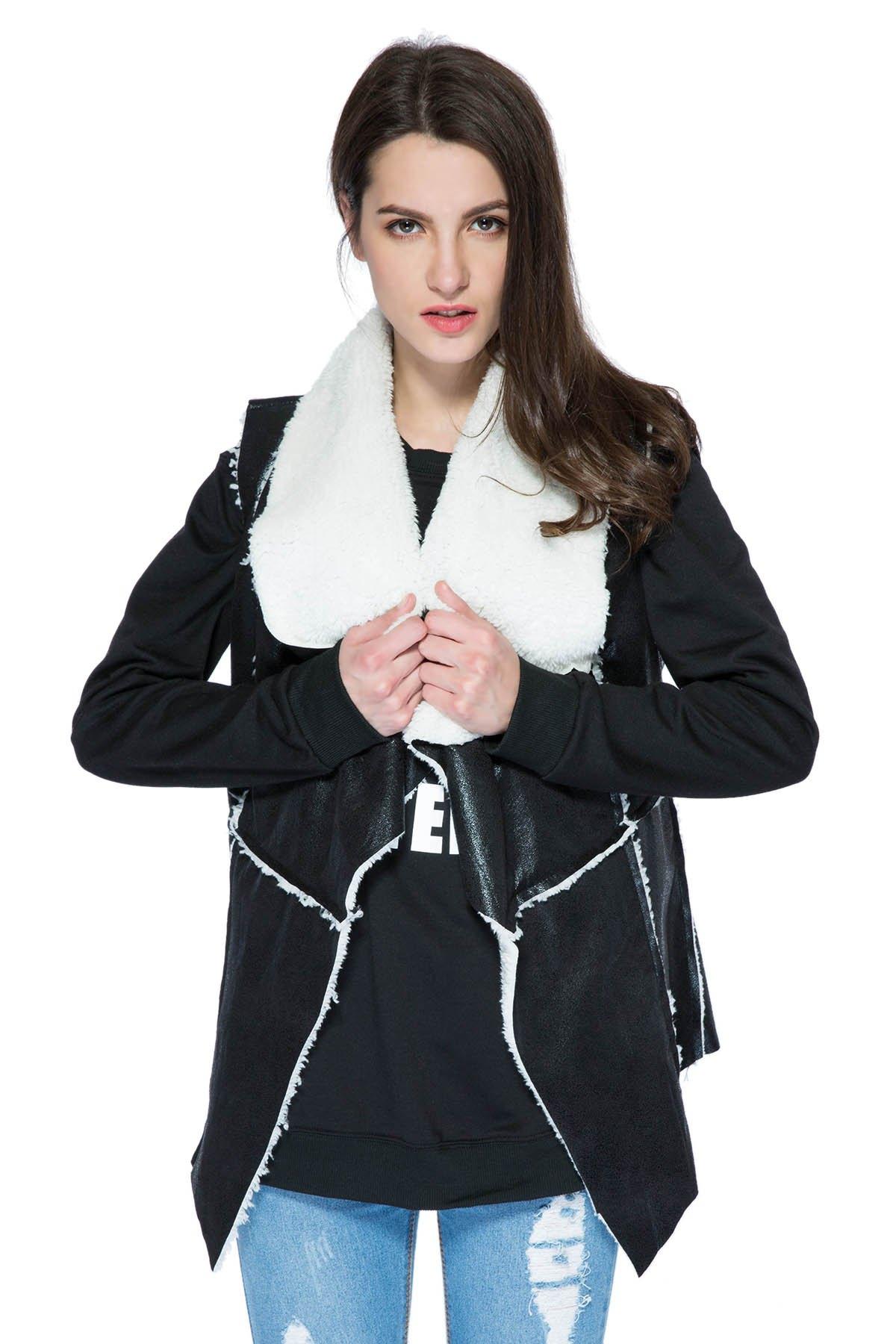 Turn-Down Collar Sleeveless Lamb Wool and PU Leather Splicing Waistcoat