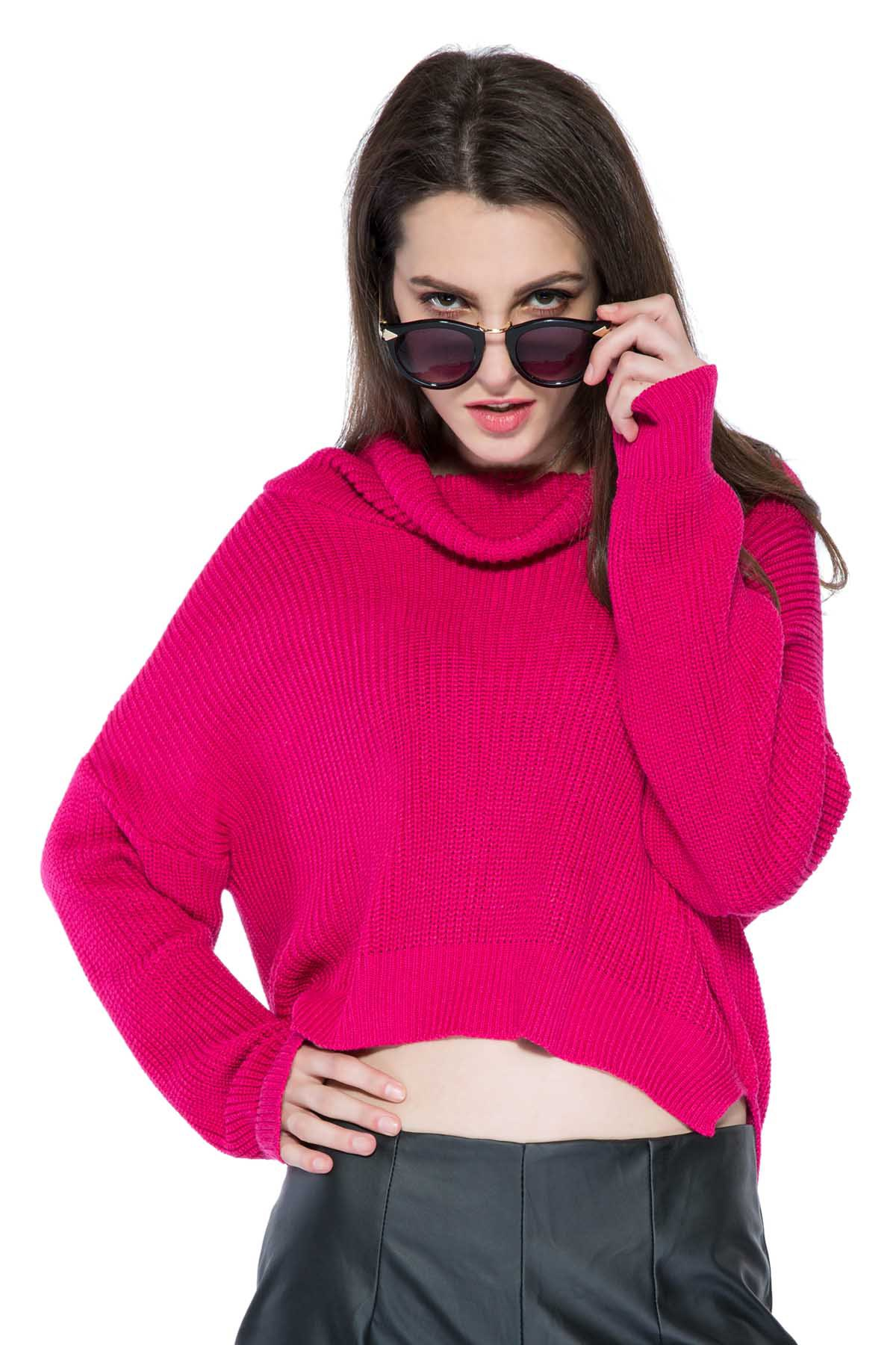 Solid Color High-Low Hem Sweater