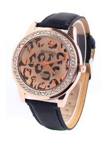 Irregular Print Rhinestoned Watch