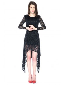 Black Irregular Hem Lace Dress
