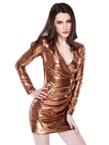Golden Pleated Plunging Neck Dress
