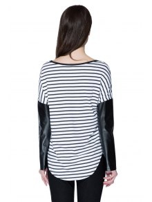 Striped Splicing Long Sleeve T-Shirt - STRIPE S