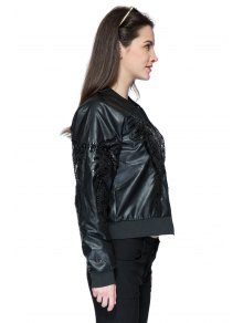 Stand Collar PU Leather Chain Jacket - BLACK ONE SIZE(FIT SIZE XS TO M)