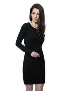 Long Sleeve Black Hollow Out Dress